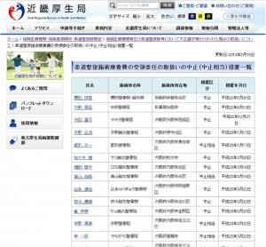 近畿厚生局の柔道整復師ページ